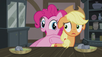 Pinkie Pie nudges Applejack to eat up S5E20