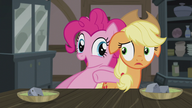 File:Pinkie Pie nudges Applejack to eat up S5E20.png