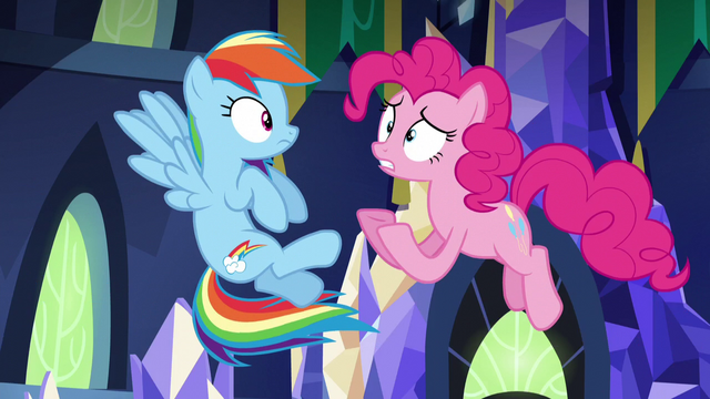 "File:Pinkie Pie jumps while shouting ""nothing!"" S5E3.png"