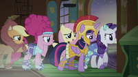 Main ponies leaving Fluttershy's cottage S5E21
