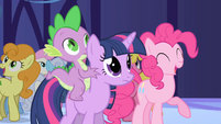 Ponies cheering after mayor announces Summer Sun Celebration S1E01