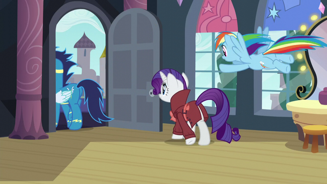 File:Soarin, Rarity, and Rainbow leaving S5E15.png