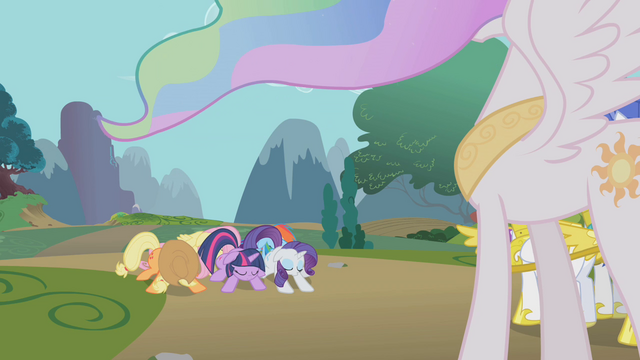 File:Main five bow to Celestia S1E10.png