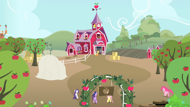 File:Applejack's friends coming towards Applejack's home S4E07.png
