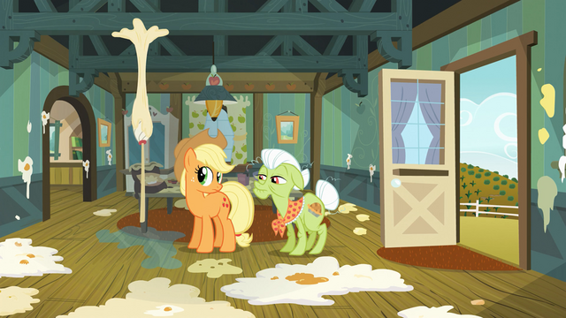 File:Applejack and Granny Smith in messy kitchen S03E09.png