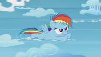 Rainbow Dash soars through the cloud course S5E25