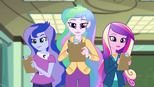 File:Celestia, Luna, and Cadance grade Fluttershy EG3.png