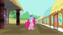Pinkie Pie in front of train door S2E24