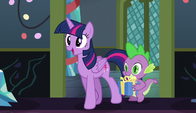 Twilight and Spike approach Starlight Glimmer S6E8