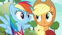Applejack and Rainbow look at each other S6E18