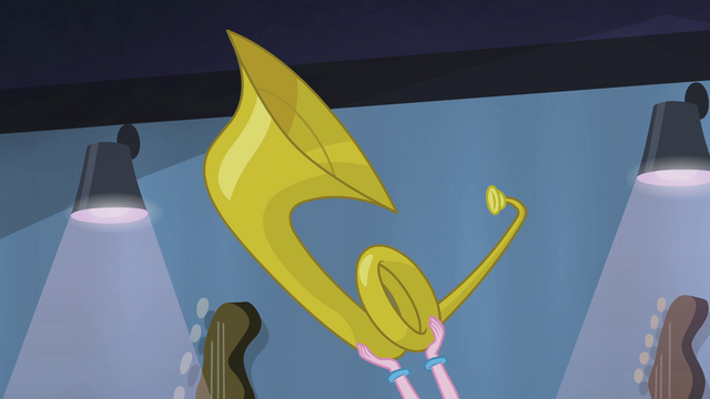File:Pinkie Pie holding up a tuba EG2.png