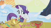 Rarity alarmed by Twilight's nest-making S1E11