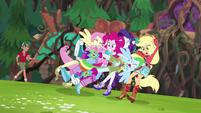 Rainbow Dash crashing into her friends EG4