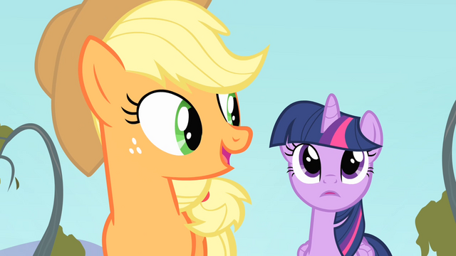 File:Applejack 'Now you go, Twilight!' S4E07.png