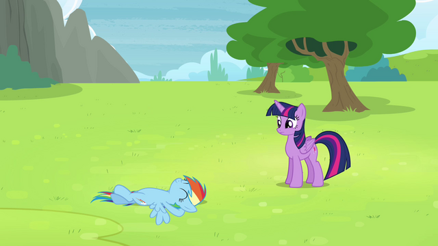 File:Rainbow Dash lying in the grass S4E10.png