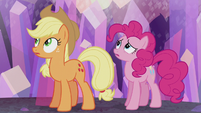 AJ and Pinkie hear a train whistle S5E20