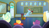 Rainbow Dash bursts into the classroom S6E24