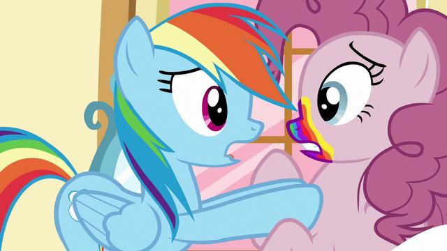 File:Rainbow Dash pushing Pinkie Pie away S6E15.png
