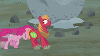 Pinkie Pie pushing Big McIntosh S5E20