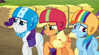 Rarity, AJ, Rainbow feeling embarrassed S6E14