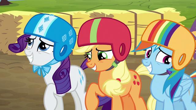 File:Rarity, AJ, Rainbow feeling embarrassed S6E14.png