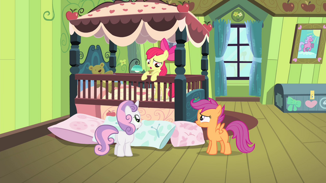 File:Sweetie and Scootaloo looking at Apple Bloom S4E17.png