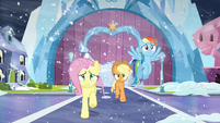 Fluttershy and Applejack running; Rainbow flying S6E2