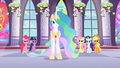 Celestia and main ponies frowning at Discord S2E1.png