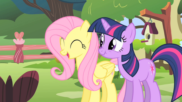 File:Fluttershy and Twilight look at Opal clawing Rarity S1E17.png
