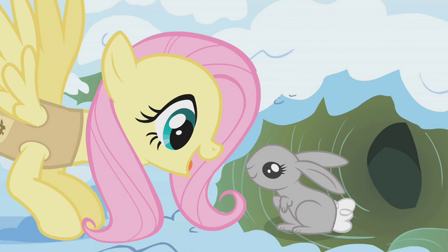 File:Fluttershy waking up a bunny S01E11.png