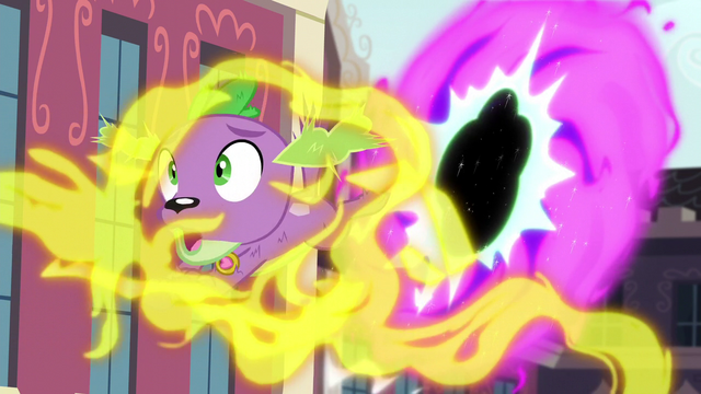 File:Spike gets caught in Fluttershy's magic stream EG3.png