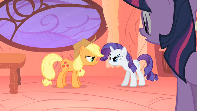 File:Applejack and Rarity bickering S1E08.png