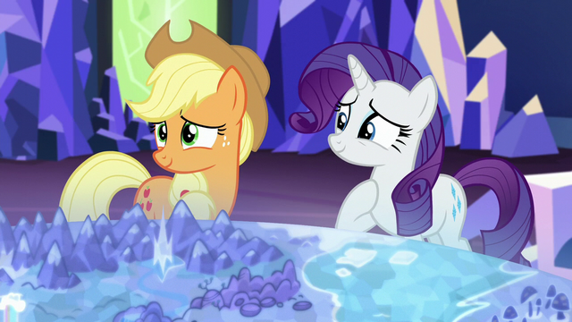 "File:Applejack and Rarity ""mm-hmm"" S5E16.png"