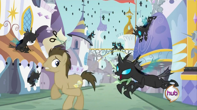 File:Dr. Hooves running from changelings S2E26.png