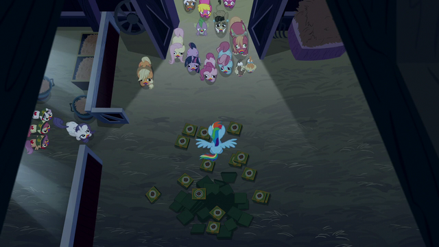 File:Rainbow Dash completely surrounded by zombies S6E15.png