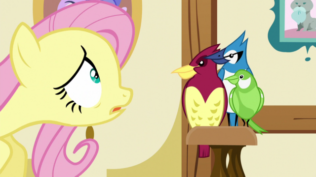 File:Fluttershy talking to her birds S5E21.png
