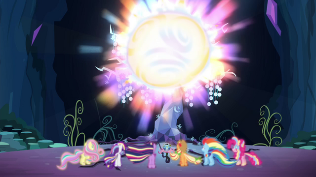 File:Mane 6 back at the Tree of Harmony S4E26.png