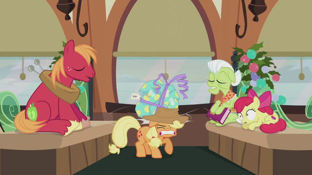 File:Pinkie's present hits Applejack on the head S5E20.png