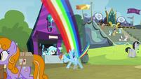 Rainbow Dash flies to crystal chalice stall S4E22