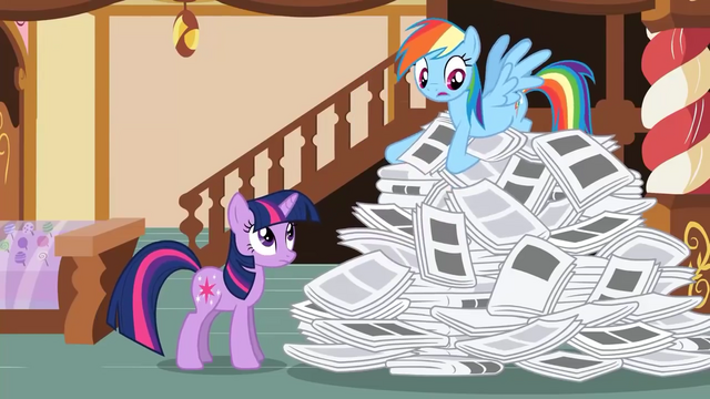 File:Rainbow Dash searching through paper pile S2E23.png