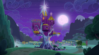 Castle of Friendship exterior rear view nighttime S6E25