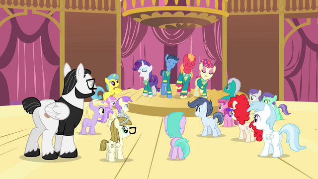 File:The Ponytones performing in front of several ponies S4E14.png