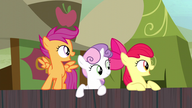 File:Cutie Mark Crusaders look at Trouble Shoes S5E6.png