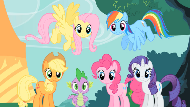 File:Main ponies group stare S1E26.png