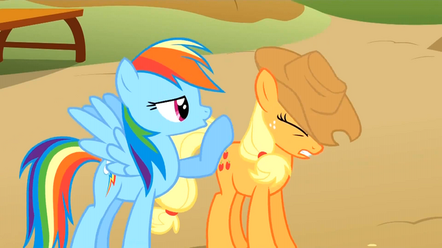 File:Rainbow Dash and Applejack competing S1E13.png