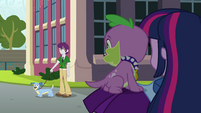 Twilight and Spike getting strange looks EG