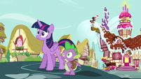 Twilight and Spike hear Applejack and Pinkie Pie laughing S5E22