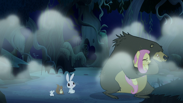 File:Fluttershy and Harry cower in fear S6E15.png