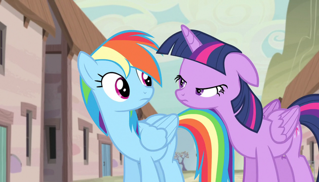 File:Twilight narrows her eyes at Rainbow S5E1.png