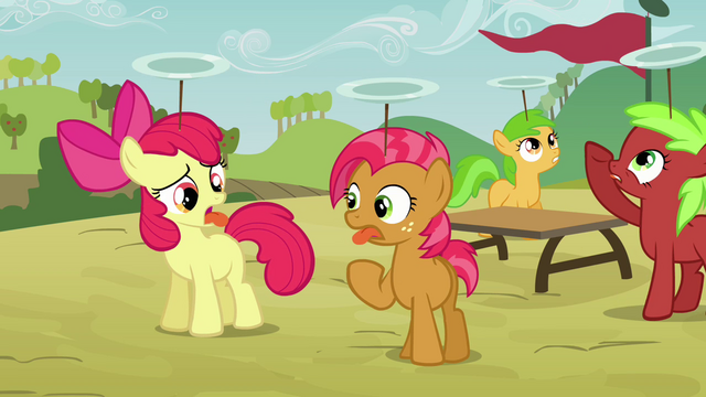 File:Apple Bloom and Babs sticking their tongues out S3E08.png